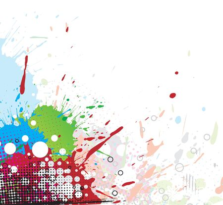 inky: Colourful bright ink splat design with a white background.  illustration. Illustration