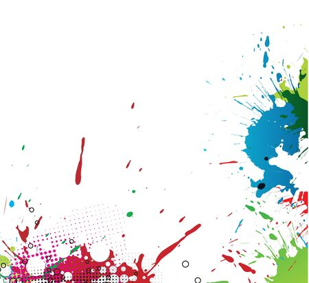 dripping paint: Colourful bright ink splat design with a white background.  illustration. Illustration