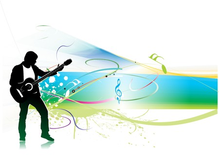speaker box: silhouette music men play a guitar with color wave line background