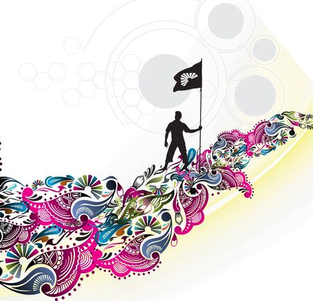 A young man holding a black flag with space of your text, Stock Vector - 7081490