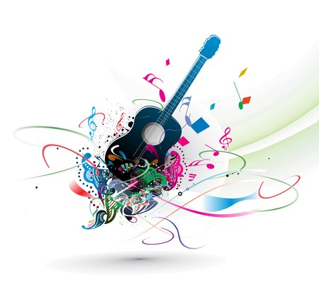 vintage theme: music theme with abstract rainbow color background