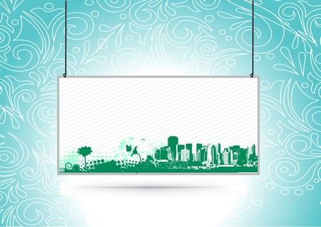 Urban grunge city with sample text banner background    Vector