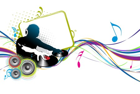 Abstract vector illustration of an dj man playing tunes with music note background.  Vector