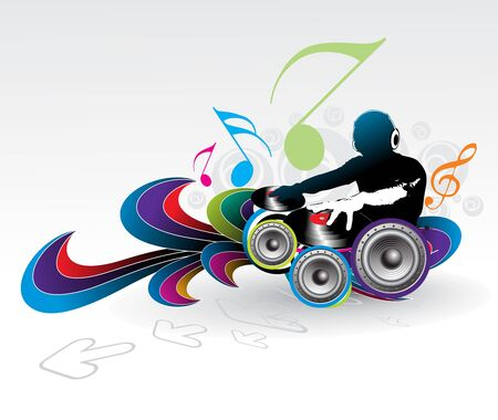 Abstract illustration of an dj man playing tunes with music note background.