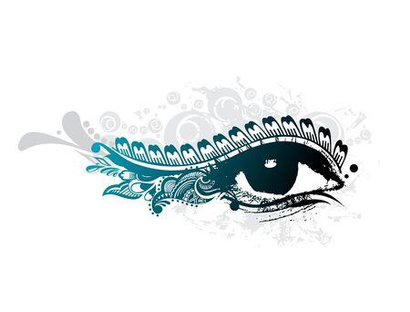 rímel: abstract grunge design of beautiful human eye,  illustration