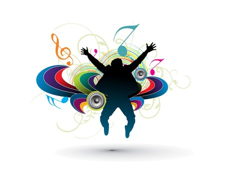 soul music: silhouette of a young happy man jumping in music background,  illustration  Illustration