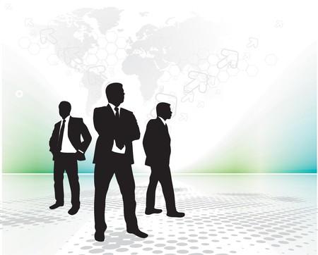lien: standing young businessman with retro wave lien background,  illustration. Illustration