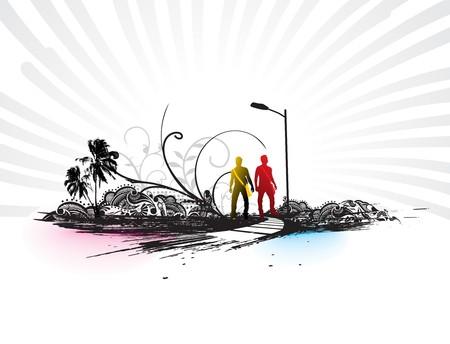 bag of soil: Template grunge urban city a backgroun illustration.