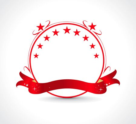 commendation: red ribbons as red banners design, illustration. Illustration