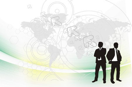 silhouetted: Abstract mosaic background with standing success businessman silhouetted .  illustration.
