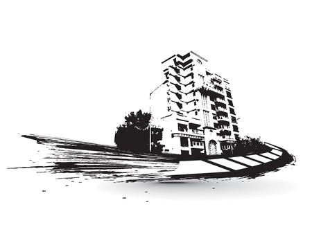 urban grunge: urban grunge city with sample text background,  illustration  Illustration