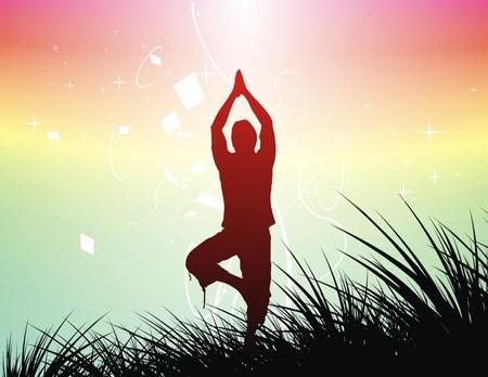 sitting meditation: Beautiful young boy doing yoga exercise outdoors , illustration. Illustration