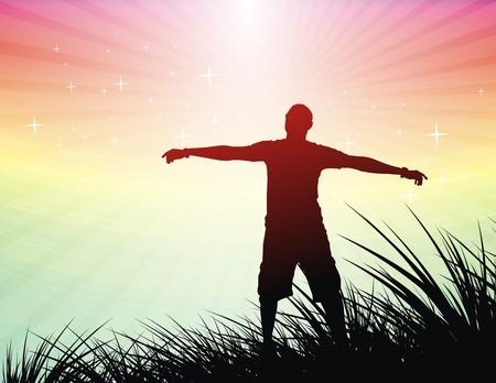 arms wide: Silhouette di giovane uomo sollevare le mani, illustrazione
