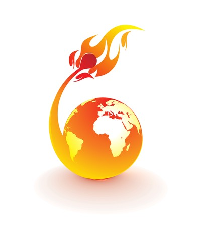 planet earth being consumed by a flame ,  illustration Vector