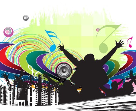 urban party concept, silhouettes of group dancing , illustration  Vector