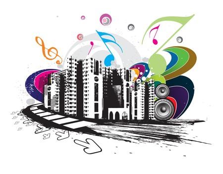 urban grunge: urban grunge city techno music event background for music flyers,  illustration