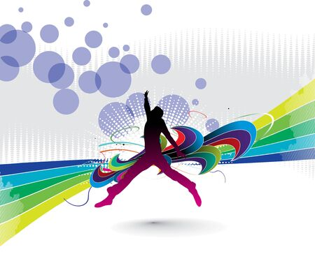reach: silhouette of a young happy man jumping with abstract design elements. illustration  Illustration