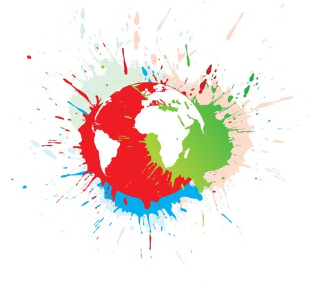abstract grunge globe in ink splate,  illustration. Vector