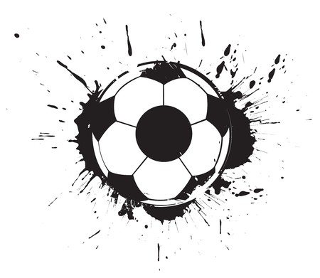 world  hexagon: abstract grunge ink splate football,  illustration. Illustration