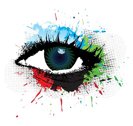 eye closeup: abstract grunge design of beautiful human eye, illustration  Illustration