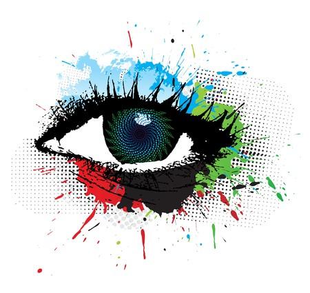 diseño de grunge abstracta de hermoso ojo humano, ilustración