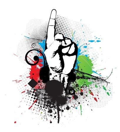 personne seule: R�sum� grunge fl�che de main de premi�re, illustration