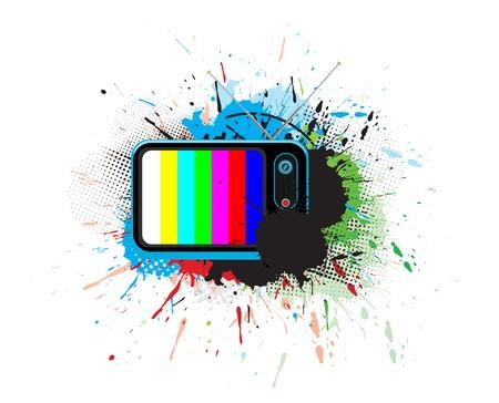re design: Retro television with grunge music theme,  illustration.