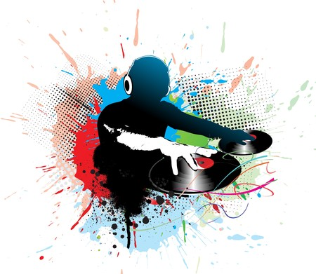 dj: Abstract  illustration of an dj man playing tunes with music note background.