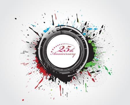 20: Fondo de grunge abstracta con arte de sector de un sello con el n�mero con hojas de laurel Vectores
