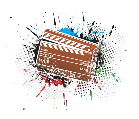 grunge modern colored clapper board with white board.  illustration
