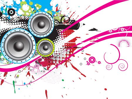 sound card: abstract grunge music theme for more vector background.