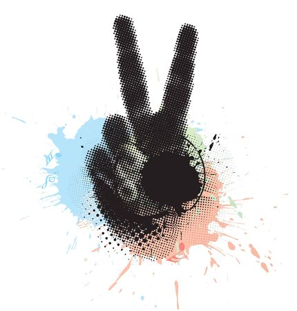 nonverbal: abstract grunge victory hand sign. vector illustration.
