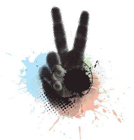 comunicacion no verbal: signo de la mano de Victoria grunge abstracta. ilustración vectorial.