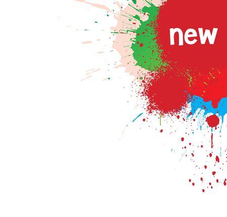 ink splat: Tinta superpuesta splat por puntos retro en vector de rojo, verde y azul, ilustraci�n.  Vectores