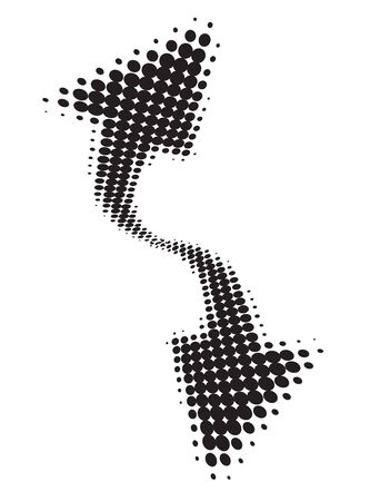 Abstract halftone arrow wave halftone background with sample text, vector illustration
