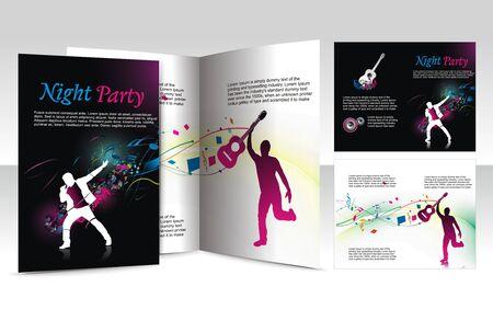 office party: dise�o de folleto para club nocturno, vector illustartion.  Vectores