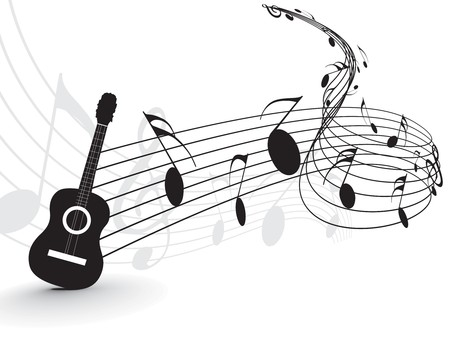 guitar: Music notes with guitar player for design use, vector illustration