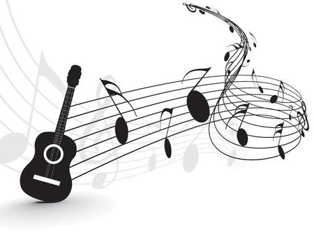 guitarra: Utilice notas de m�sica con reproductor de guitarra para dise�o, ilustraci�n vectorial