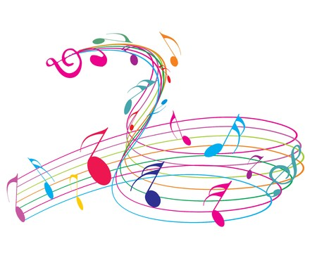 symphony: Music notes wirh rainbow wave line for design use, vector illustrat Illustration