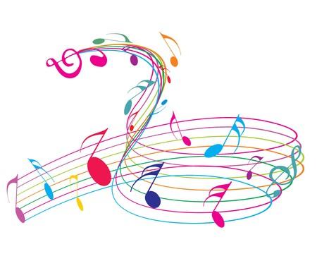 popular music concert: Note di musica wirh arcobaleno linea d'onda per usare il disegno, vettore illustrat