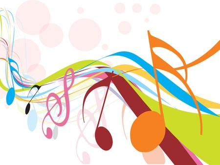 popular music concert: abstract rainbow wave line with Music notes for design use, vector illustrat