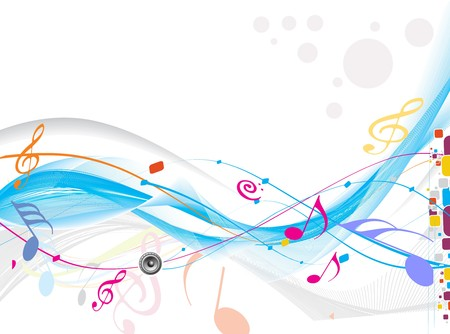 popular: abstract wave line with music notes for design use, vector illustration