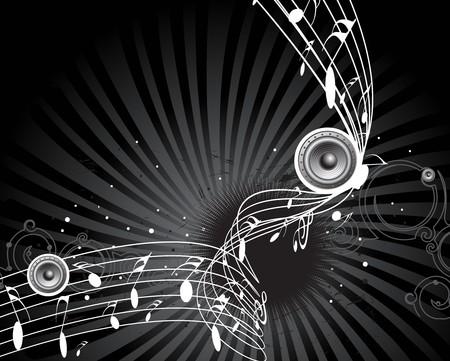 clef de fa: utiliser de la musique th�me avec des notes de musique pour la conception, illustration vectorielle