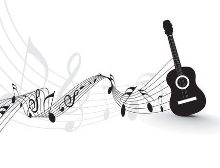 bass clef: Music notes wirh guitar player  for design use, vector illustrat Illustration