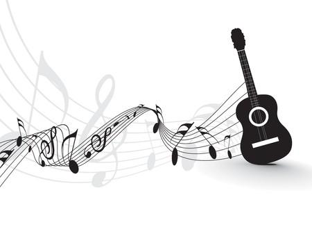 gitara: Odtwarzacz muzyczny notatki wirh gitara stosowania projektu, wektor illustrat