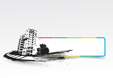 Grange style , urban city with banner in white background, vector illustration.