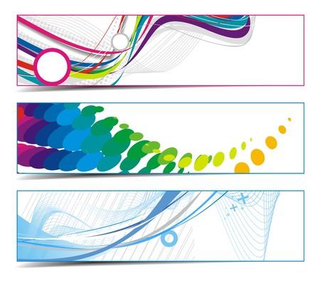 third: Three abstract vibrant banners, vector illustartion. Illustration