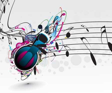 mike: Music notes for music design use, vector illustration