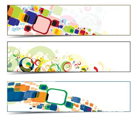 Set of techno and colorful background banners. eps8 Vector