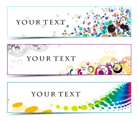 rainbow stripe: Abstract banners on colorful themes  Illustration